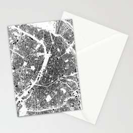 Paris Map Schwarzplan Only Buildings Stationery Cards