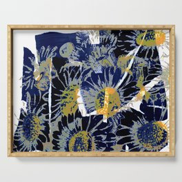 daisies on astract bakground Serving Tray
