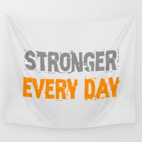 workout Wall Tapestries featuring Workout Collection: Stronger Every Day by Kat Mun