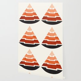 Burnt Sienna Watercolor Ombre Geometric Aztec Triangle Pyramid Pattern Minimalist Mid Century Design Wallpaper
