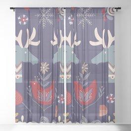 REINDEER AND FLOWERS Sheer Curtain