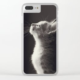 Thinking cat Clear iPhone Case
