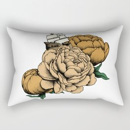 Sailing a Sea of Peonies - Vintage Yellow Rectangular Pillow