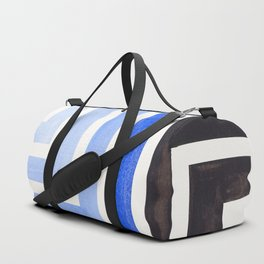 Pastel Periwinkle Blue Minimalist Inca Geometric Mid Century Modern Watercolor Pattern Maze Duffle Bag