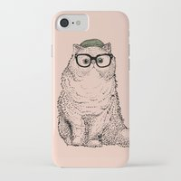 persian iPhone & iPod Cases featuring Hipster Persian Cat by Huebucket