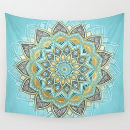 Cyan & Golden Yellow Sunny Skies Medallion Wall Tapestry