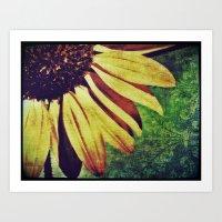 fleur de lis Art Prints featuring Sunflower Fleur De Lis by minx267