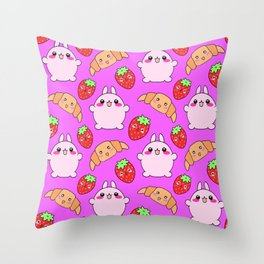 Cute happy funny pink baby bunnies, sweet adorable yummy Kawaii croissants and red ripe summer strawberries cartoon colorful pastel pattern design Throw Pillow