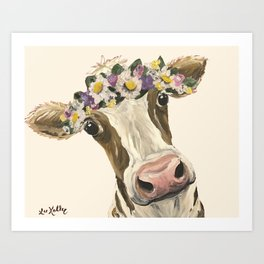 Cow Art, Flower Crown Cow Art Art Print