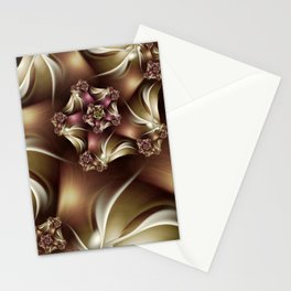 Abiding Fractal Spiral in Brown, White and Pink Stationery Cards