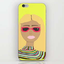 Lime Green Woman with Rainbow Sweater and Pink Sunglasses iPhone Skin