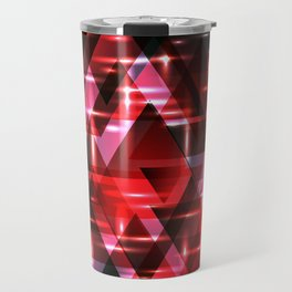 Spring delicate burgundy horizontal strict stripes of sparkling ruby triangles. Travel Mug