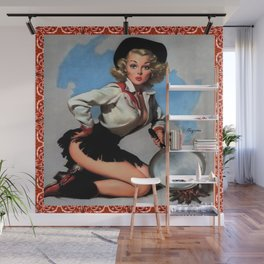 Vintage Cowgirl With Frying Pan Wall Mural