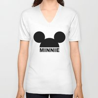 minnie V-neck T-shirts featuring MINNIE by ilola