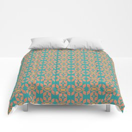 Southwestern Orange Turquoise Pattern Comforters