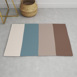 4 Bold Wide Lines Behr Blueprint Blue, Brown Velvet, Coffee with Cream, and Cameo Stone Rug