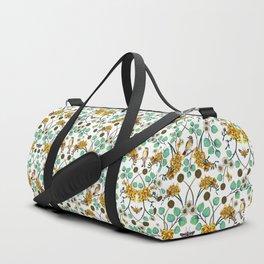 Warblers & Moths - Yellow & Teal Spring Floral/Bird Pattern Duffle Bag