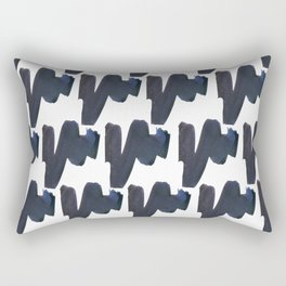 Navy blue black abstract watercolor zigzag brushstrokes pattern Rectangular Pillow