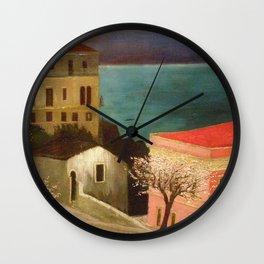 Full Moon over Taormina, Sicily, Italy - Ionian Sea landscape painting by Csontváry Kosztka Tivadar Wall Clock