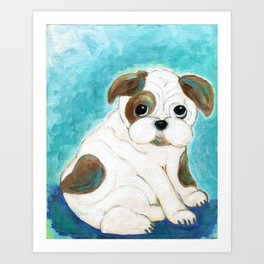 Bulldog Puppy Painting, Dog Painting, Kid's Room Decor, Dog Lover, Animal Art Art Print