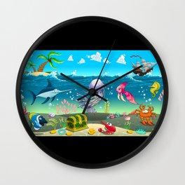 Funny scene under the sea. Wall Clock