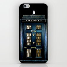 Tardis doctor who Mashup with sherlock holmes 221b door iPhone Skin