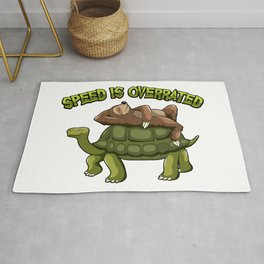 Speed Is Overrated - Sloth Rides A Turtle Rug