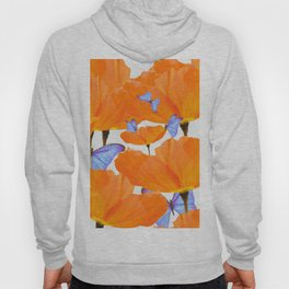 Poppies And Butterflies White Background #decor #society6 #buyart Hoody