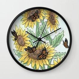 Monarch Sunflower Wall Clock