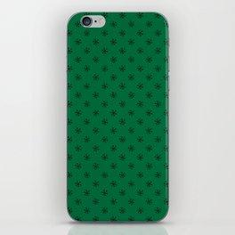 Black on Cadmium Green Snowflakes iPhone Skin
