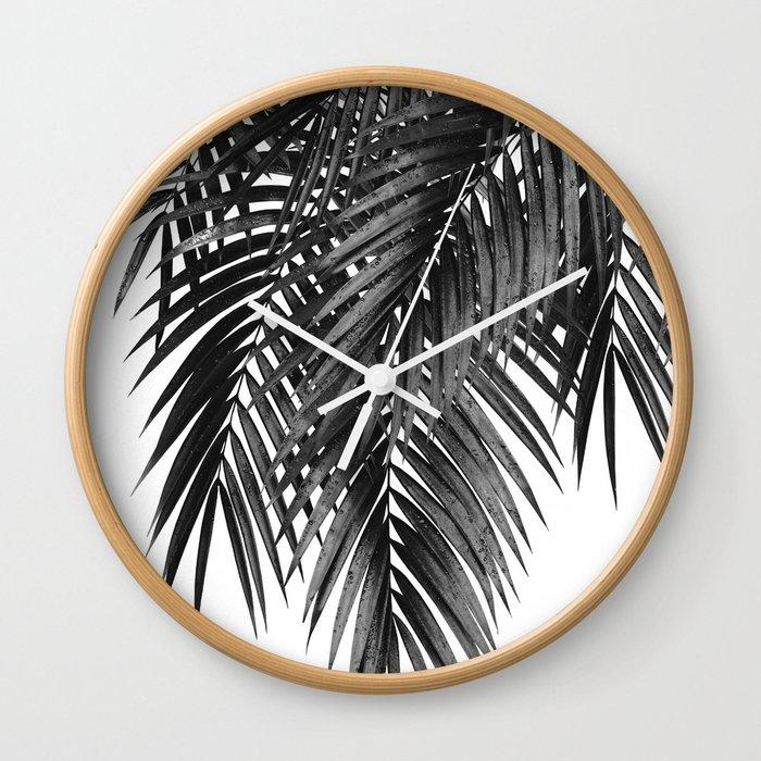 cb17341e93 Palm Leaves Black & White Vibes #4 #tropical #decor #art #society6 Wall  Clock