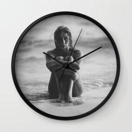 the girl on the beach Wall Clock
