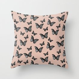 Black Pale Terracotta Butterfly Glam #1 #pattern #decor #art #society6 Throw Pillow