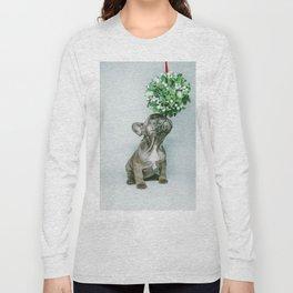 Christmas Pup Under Mistletoe (Color) Long Sleeve T-shirt