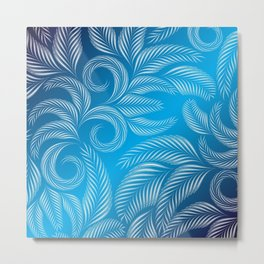 Coold Winter Blue Frosted Window design pattern Metal Print