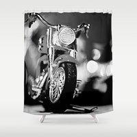 motorbike Shower Curtains featuring Motorbike-B&W by Yar's Photography