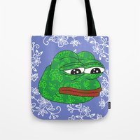 rare Tote Bags featuring Rare Pepe by Mischievie