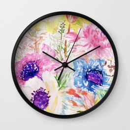 Floral sketch watercolor hand paint Wall Clock