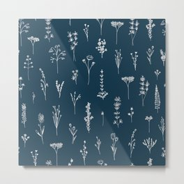 Wildflowers Pattern 2 - Petrol Blue Metal Print