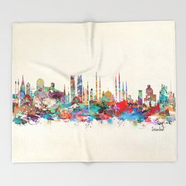 Istanbul skyline Throw Blanket