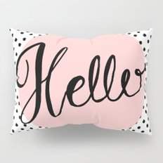 Hello Dots Hand Lettering - pink Pillow Sham