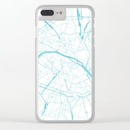 Paris France Minimal Street Map - Turquoise Blue and White Clear iPhone Case