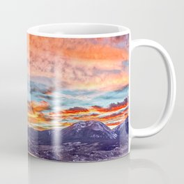 Sunset Pano // Beautiful Rocky Mountain Lake View Colorado Red Orange Sky Coffee Mug