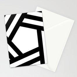 Black white stripey pentagon Stationery Cards