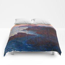 Claude Monet Impressionist Landscape Oil Painting Sunset At Sea Cliffs Ocean Cliff Landscape Comforters