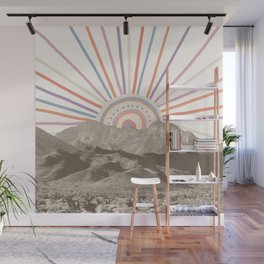 Summerlin Mountain // Abstract Vintage Mountains Summer Sun Vibe Drawing Happy Wall Hanging Wall Mural