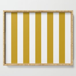 Lemon curry brown - solid color - white vertical lines pattern Serving Tray