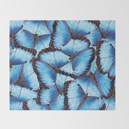 Blue Morpho Butterfly Throw Blanket