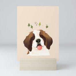 St. Bernard Pet Dog Illustration Portrait Mini Art Print