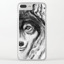 Half-Faced Wolf Close-up Clear iPhone Case